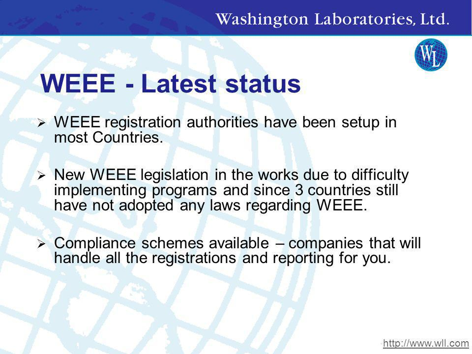WEEE - Latest status WEEE registration authorities have been setup in most Countries.
