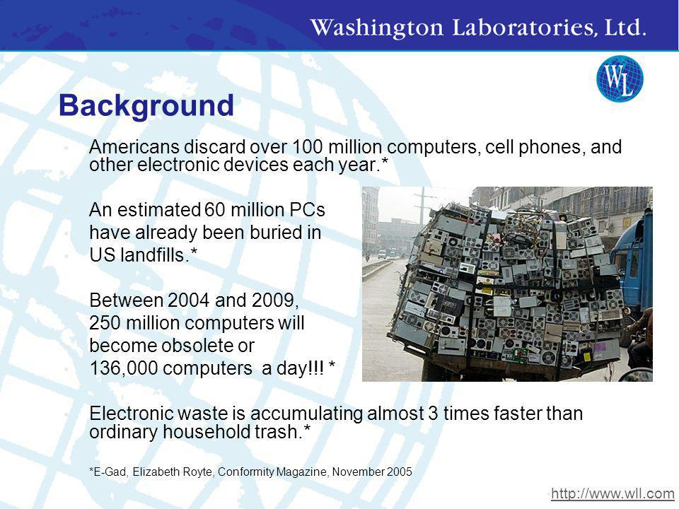 Background Americans discard over 100 million computers, cell phones, and other electronic devices each year.*