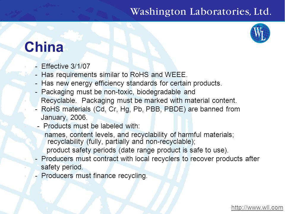 China - Effective 3/1/07 - Has requirements similar to RoHS and WEEE.