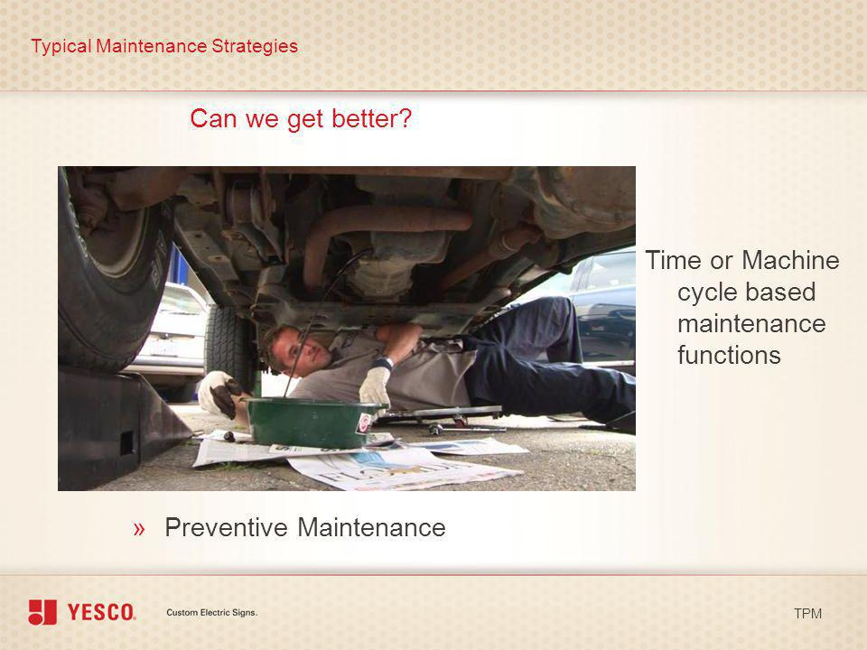 Time or Machine cycle based maintenance functions