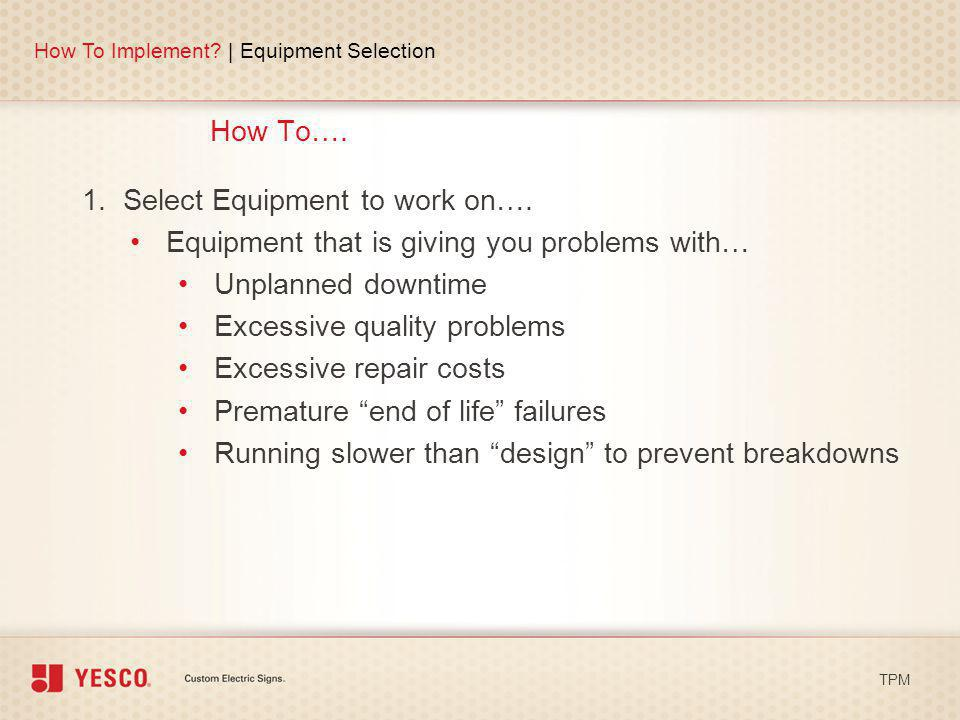 1. Select Equipment to work on….