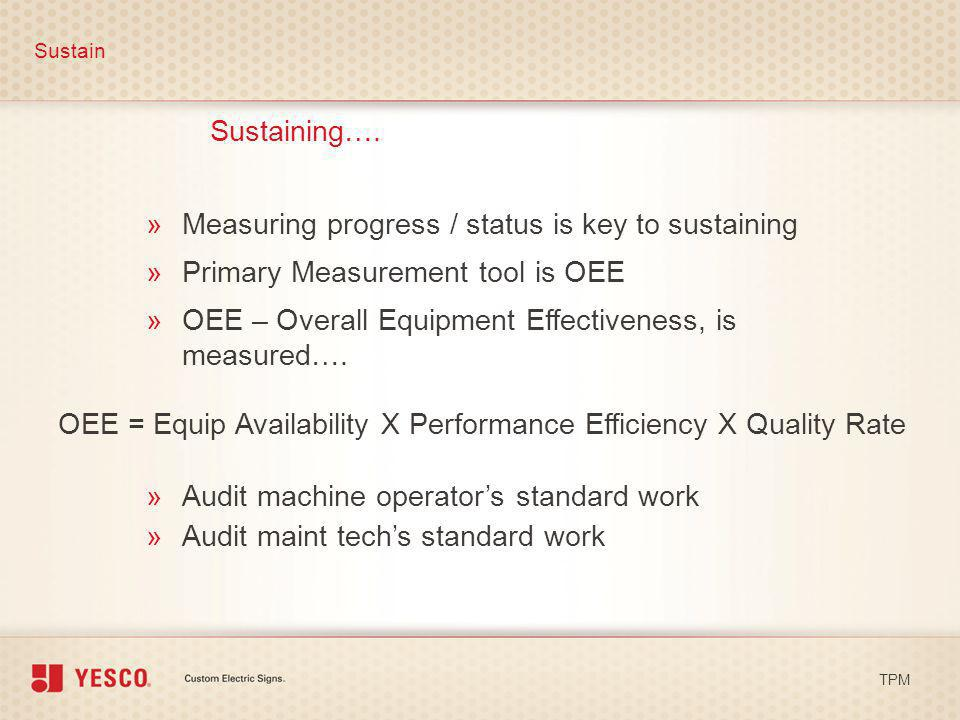 Measuring progress / status is key to sustaining