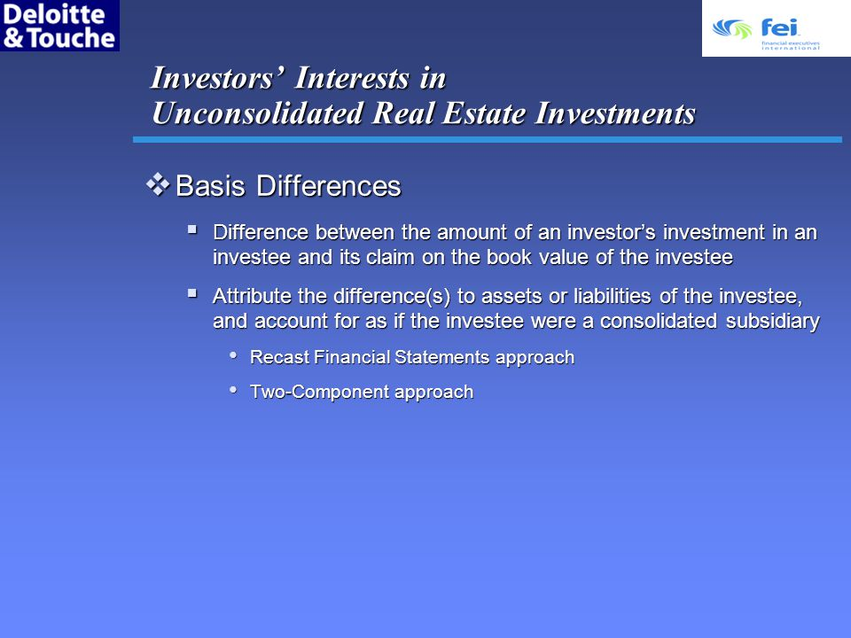 Investors' Interests in Unconsolidated Real Estate Investments