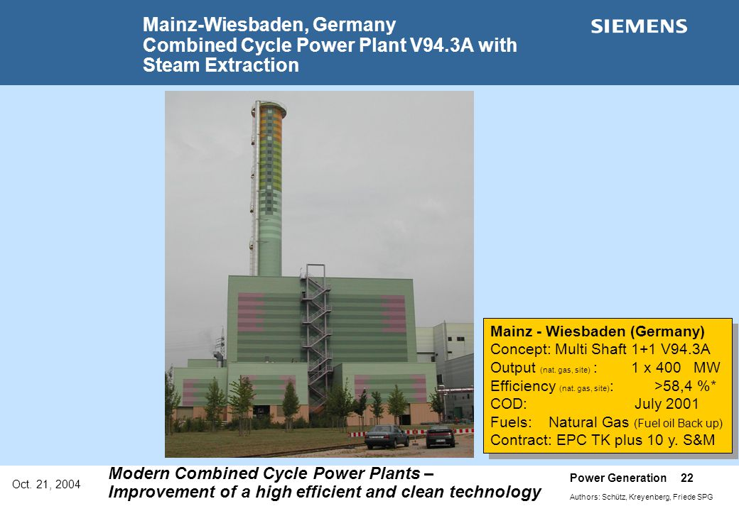 Mainz-Wiesbaden, Germany Combined Cycle Power Plant V94