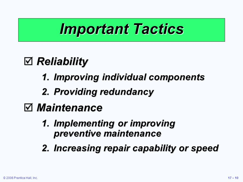 Important Tactics Reliability Maintenance