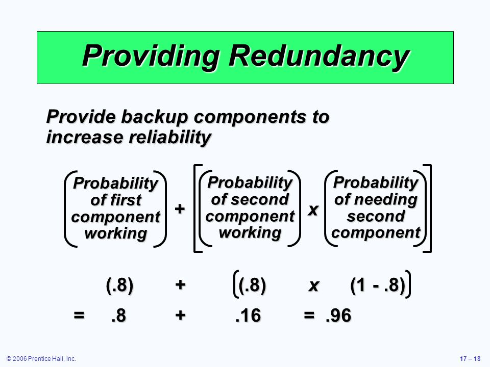 Providing Redundancy Provide backup components to increase reliability