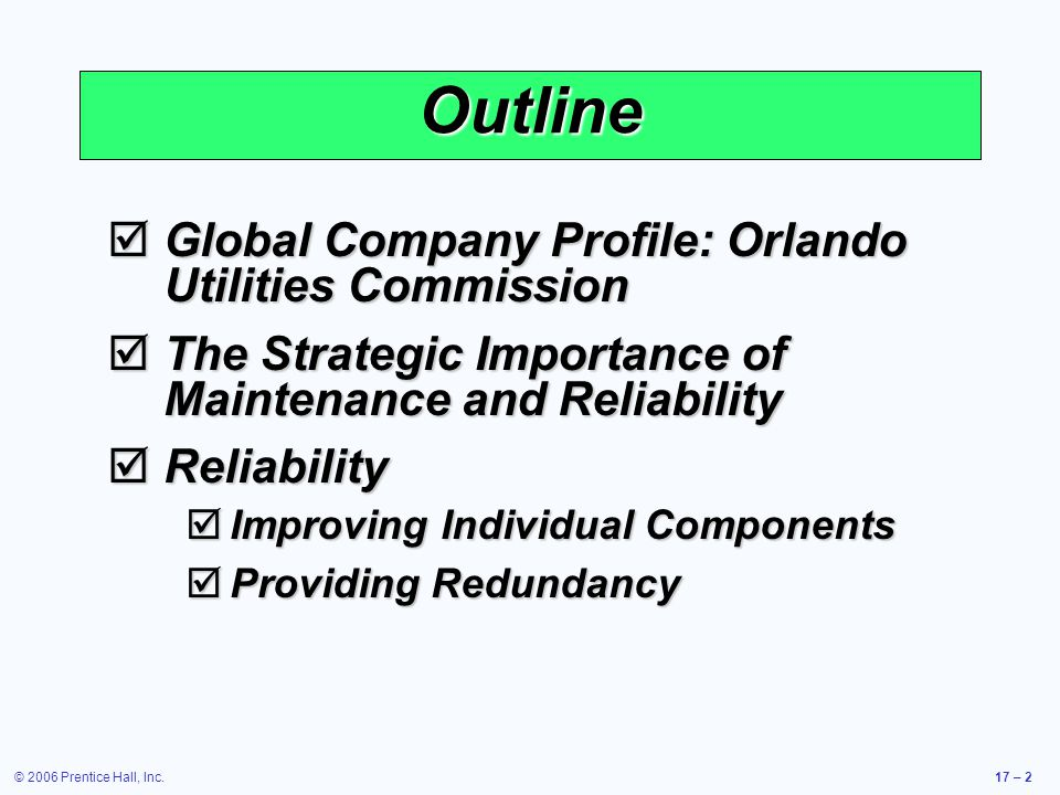 Outline Global Company Profile: Orlando Utilities Commission