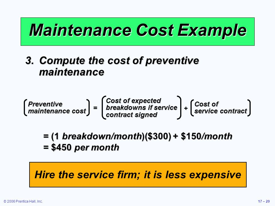 Maintenance Cost Example