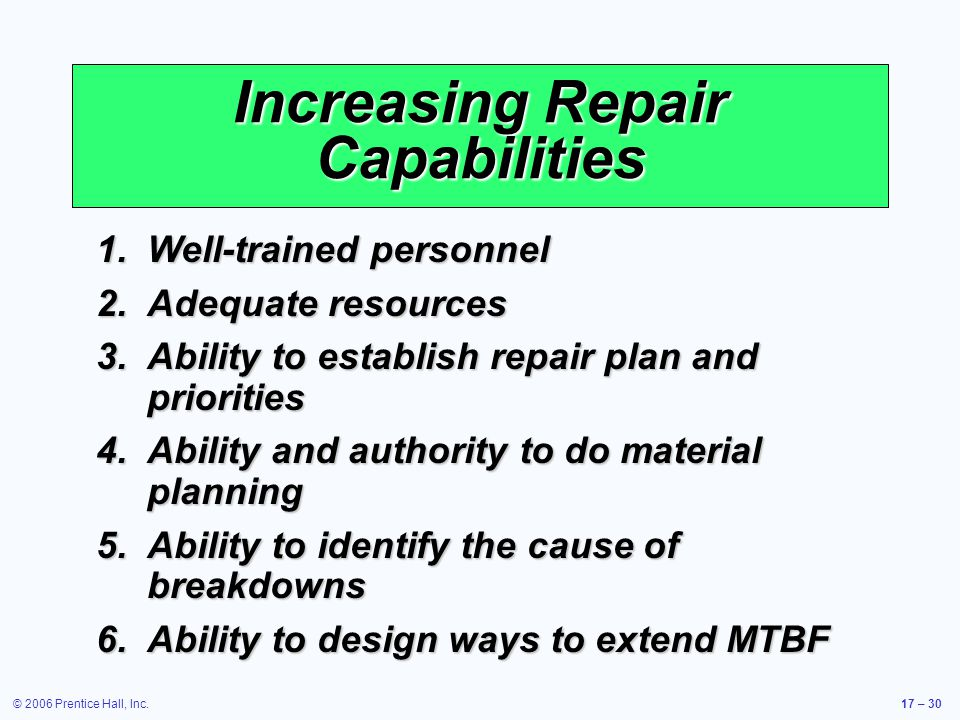 Increasing Repair Capabilities