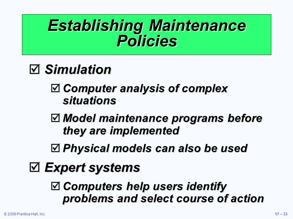 Establishing Maintenance Policies