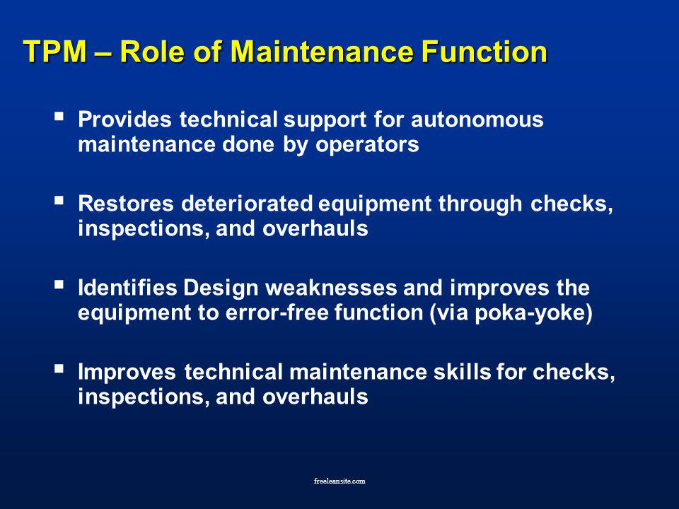 TPM – Role of Maintenance Function