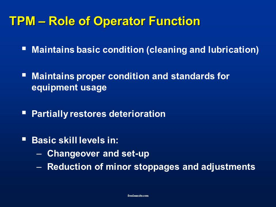 TPM – Role of Operator Function