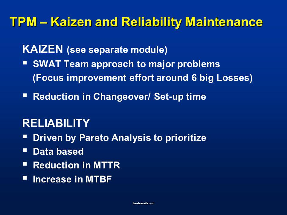 TPM – Kaizen and Reliability Maintenance
