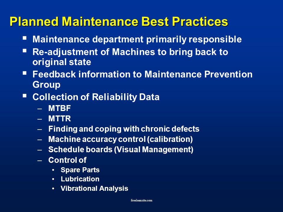Planned Maintenance Best Practices