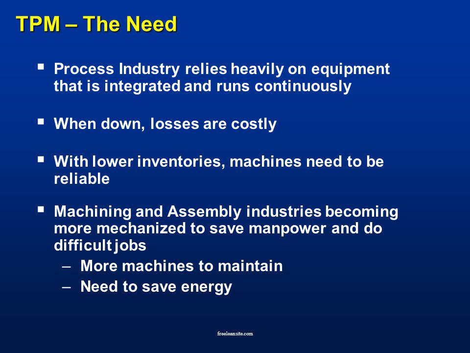 TPM – The Need Process Industry relies heavily on equipment that is integrated and runs continuously.