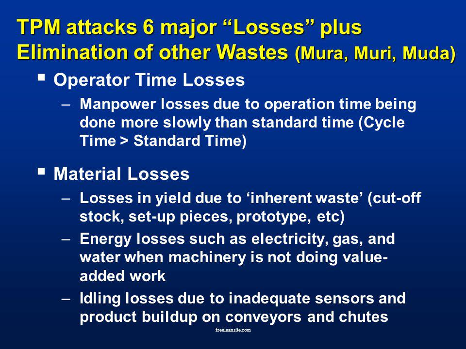 TPM attacks 6 major Losses plus Elimination of other Wastes (Mura, Muri, Muda)