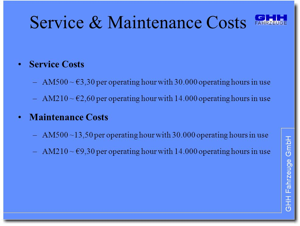 Service & Maintenance Costs