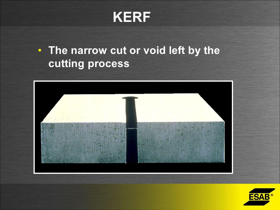 KERF The narrow cut or void left by the cutting process