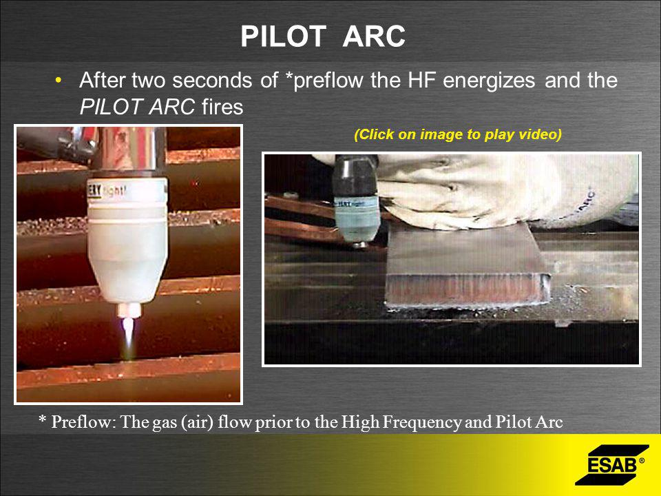 PILOT ARC After two seconds of *preflow the HF energizes and the PILOT ARC fires. (Click on image to play video)