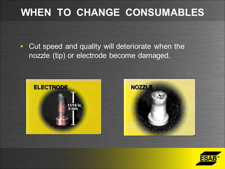 WHEN TO CHANGE CONSUMABLES