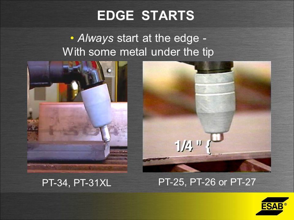 EDGE STARTS Always start at the edge - With some metal under the tip