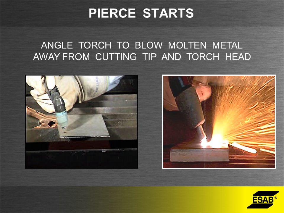 PIERCE STARTS ANGLE TORCH TO BLOW MOLTEN METAL