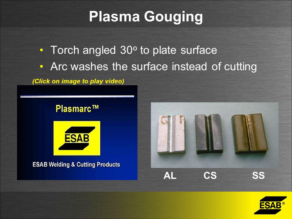 Plasma Gouging Torch angled 30o to plate surface