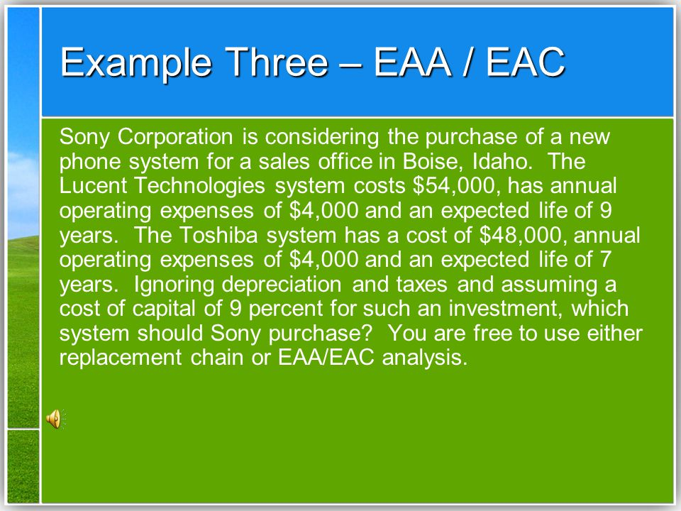 Example Three – EAA / EAC