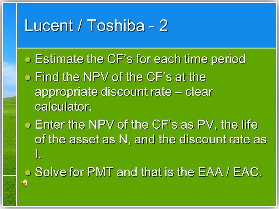 Lucent / Toshiba - 2 Estimate the CF's for each time period