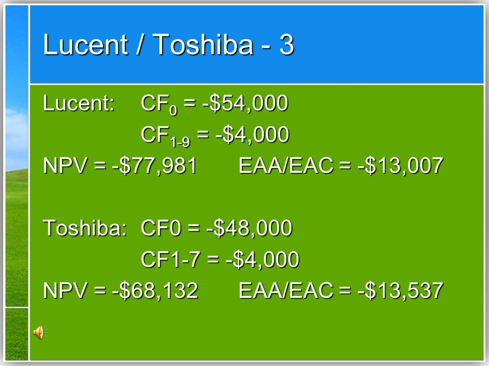 Lucent / Toshiba - 3 Lucent: CF0 = -$54,000 CF1-9 = -$4,000