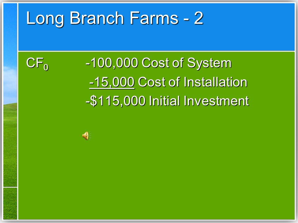 Long Branch Farms - 2 CF0 -100,000 Cost of System