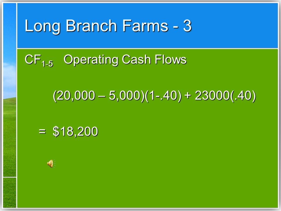 Long Branch Farms - 3 CF1-5 Operating Cash Flows