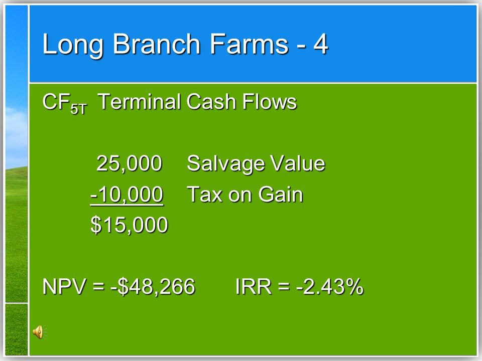 Long Branch Farms - 4 CF5T Terminal Cash Flows 25,000 Salvage Value