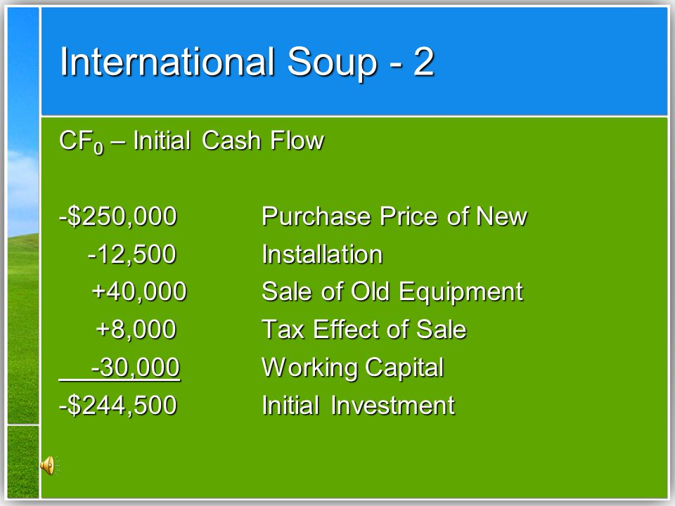 International Soup - 2 CF0 – Initial Cash Flow