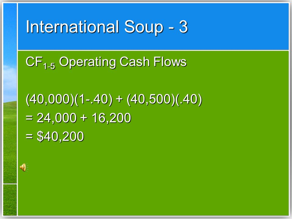 International Soup - 3 CF1-5 Operating Cash Flows
