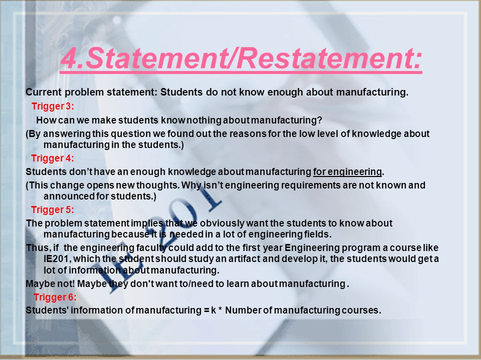 4.Statement/Restatement: