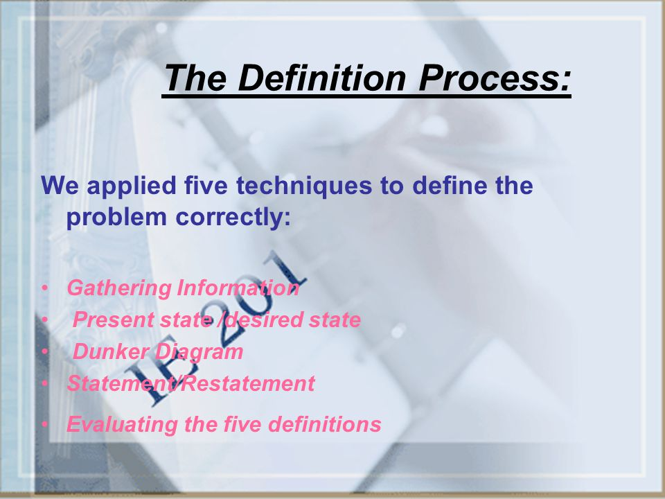 The Definition Process: