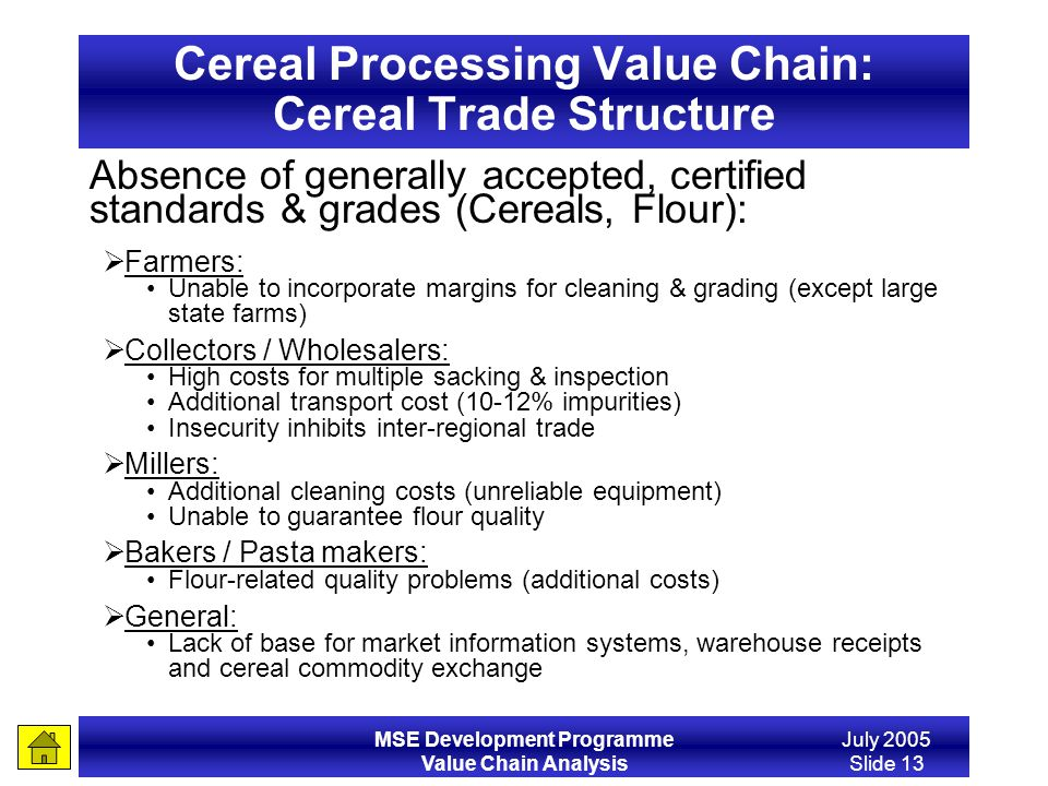 Cereal Processing Value Chain: Cereal Trade Structure