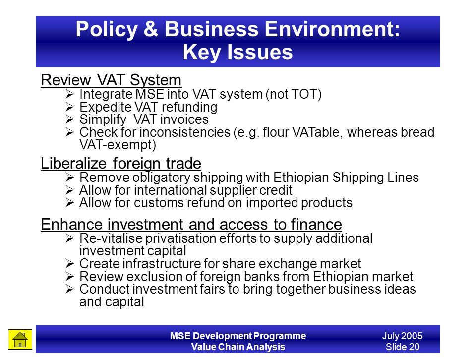 Policy & Business Environment: Key Issues