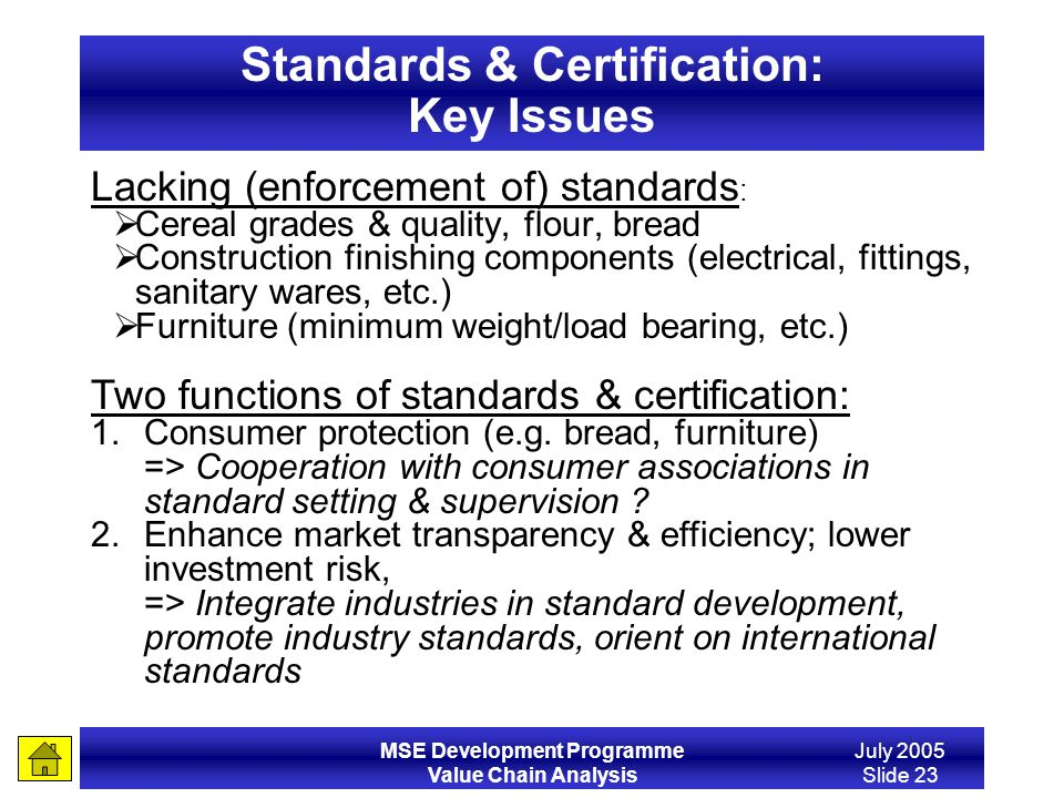Standards & Certification: Key Issues