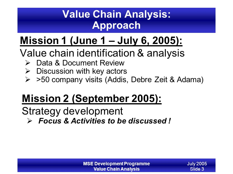 Value Chain Analysis: Approach