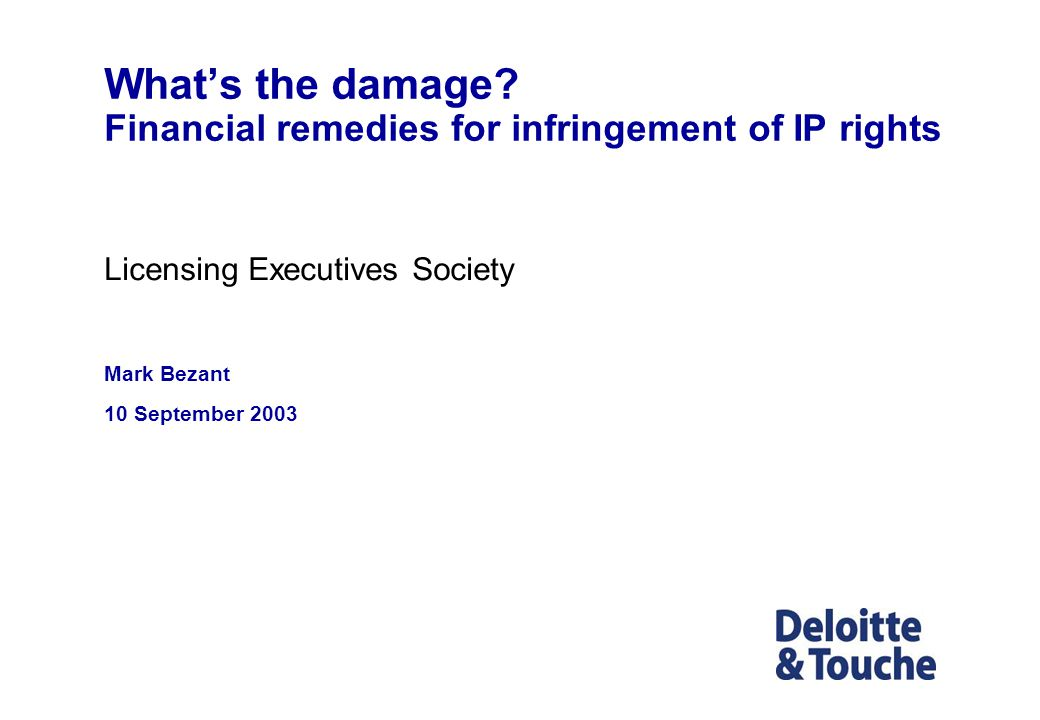 What's the damage Financial remedies for infringement of IP rights