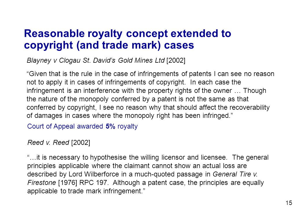 Reasonable royalty concept extended to copyright (and trade mark) cases