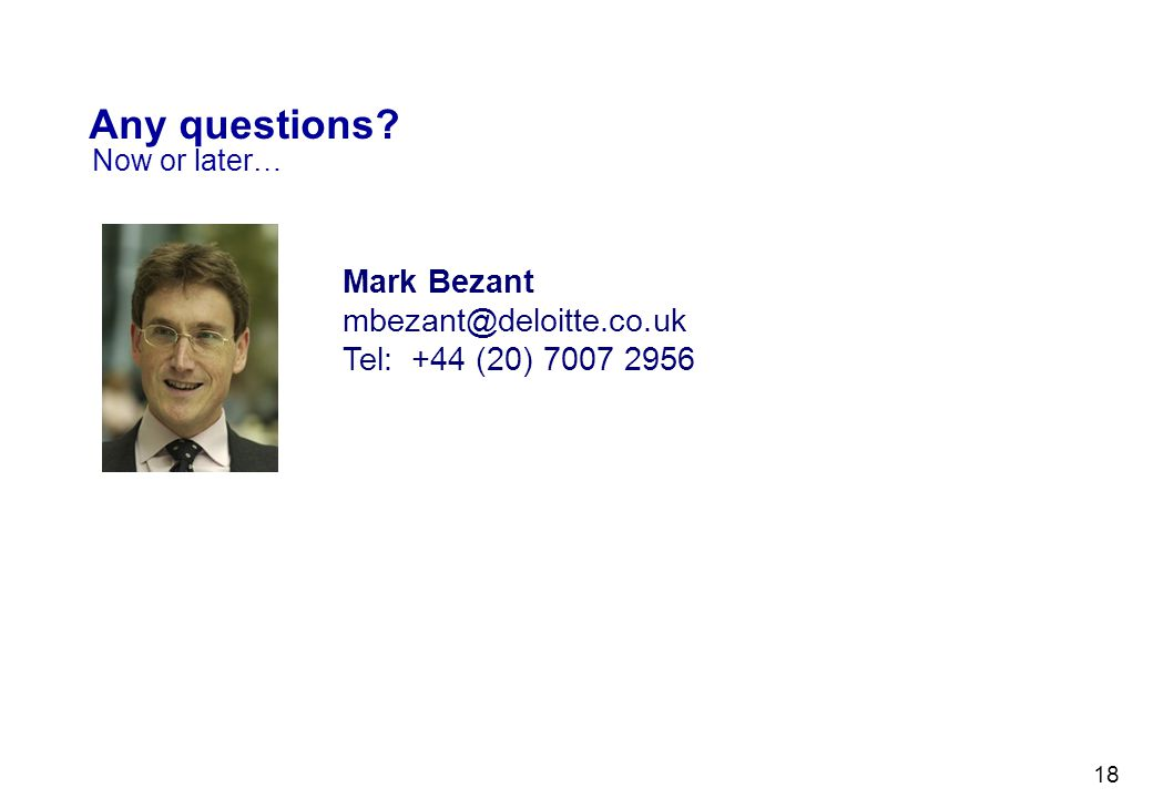 Any questions Mark Bezant mbezant@deloitte.co.uk