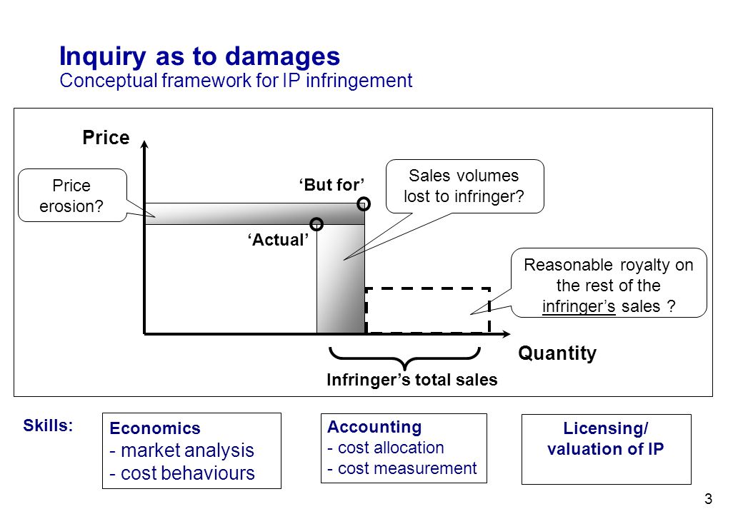 Inquiry as to damages Conceptual framework for IP infringement