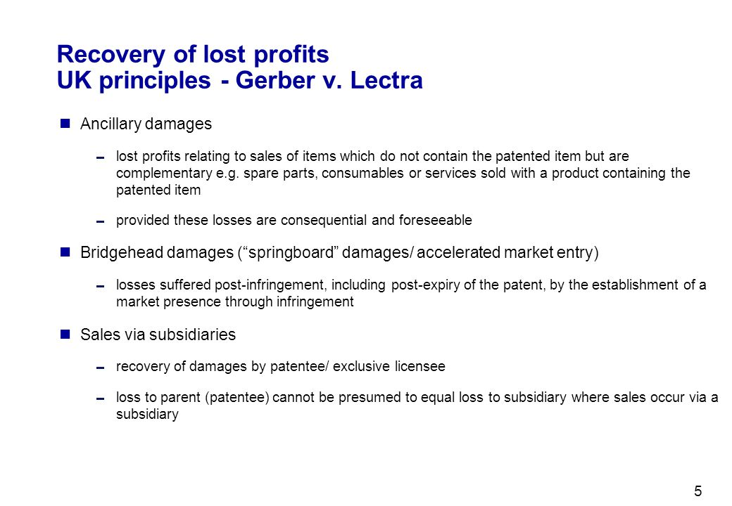 Recovery of lost profits UK principles - Gerber v. Lectra