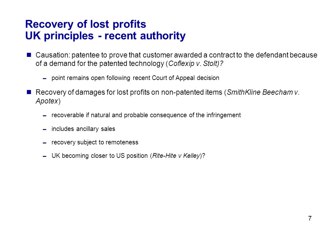 Recovery of lost profits UK principles - recent authority