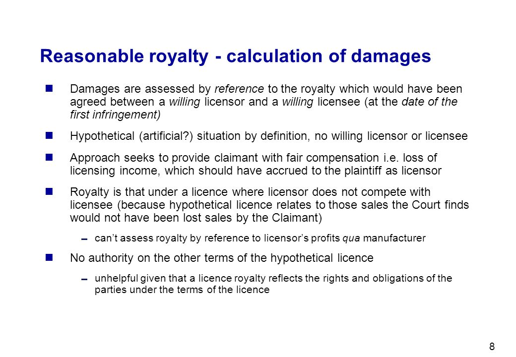 Reasonable royalty - calculation of damages