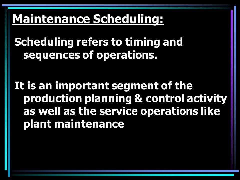 Maintenance Scheduling: