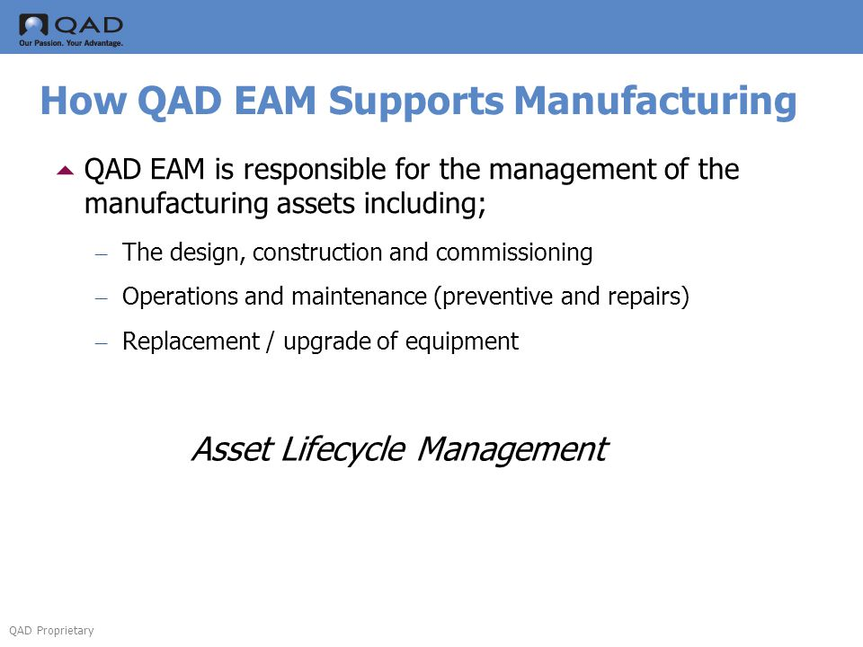 How QAD EAM Supports Manufacturing